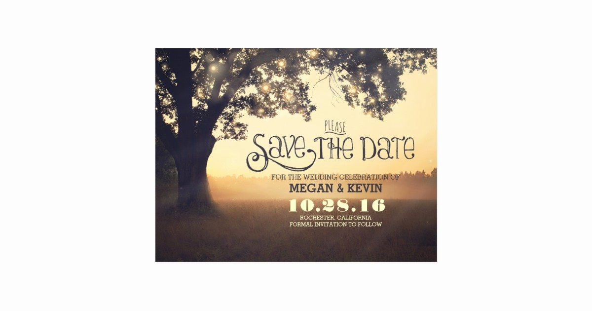 Postcards Save the Date Template Elegant String Lights Tree Romantic Save the Date Postcard