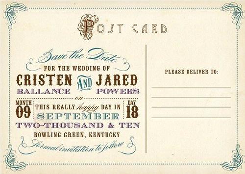 Postcards Save the Date Template Elegant Vintage Postcard Template