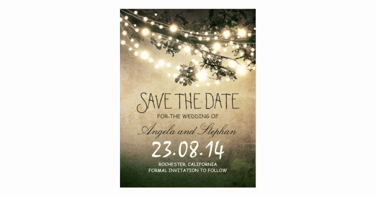 Postcards Save the Date Template Inspirational Romantic Night Lights Rustic Save the Date Postcard