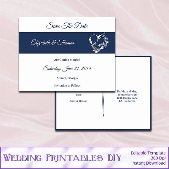 Postcards Save the Date Template Inspirational Save the Date Postcard Template Diy Navy by