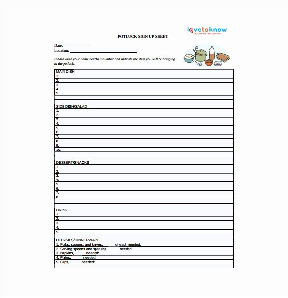 Potluck Signup Sheet Template Excel Awesome 19 Sign Up Sheet Templates – Free Sample Example format