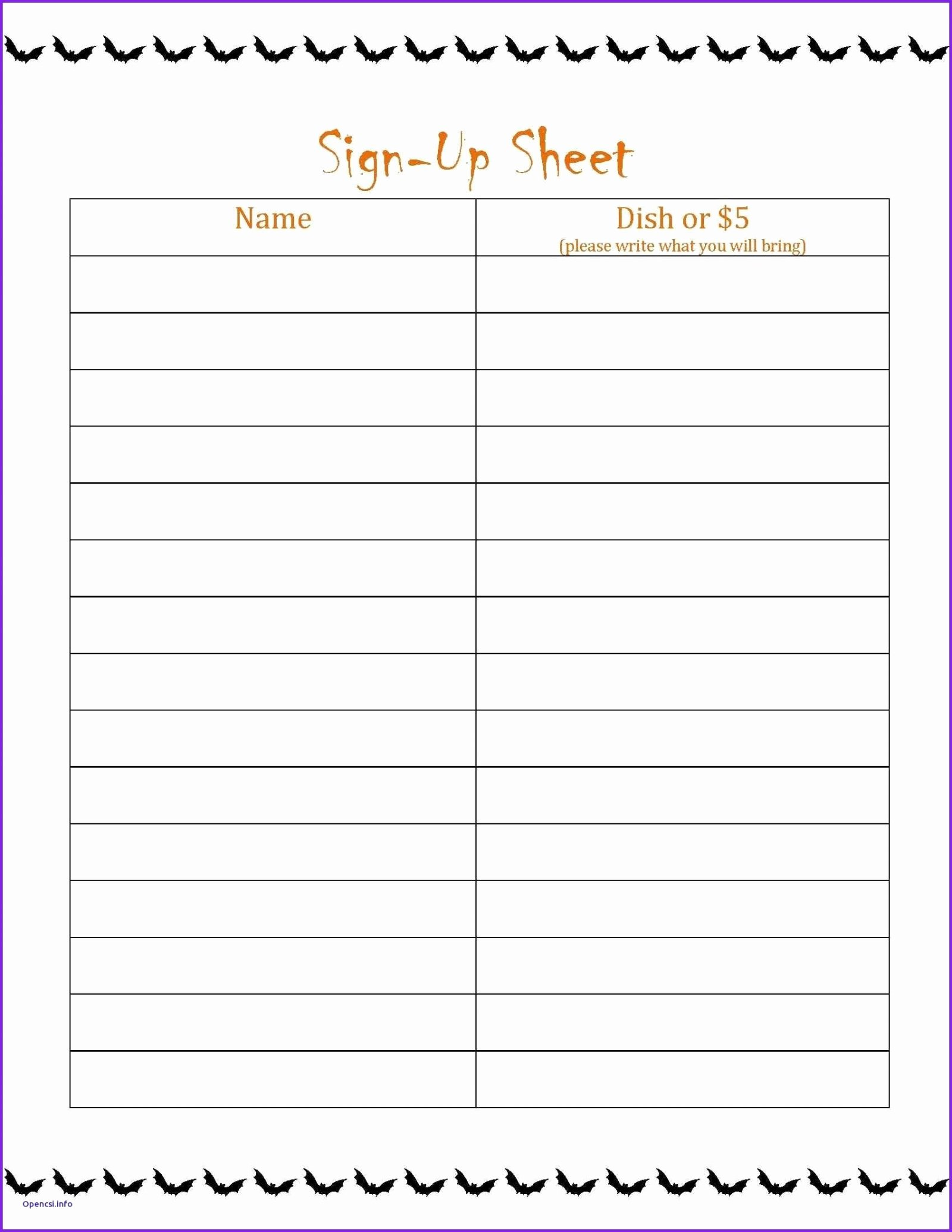 Potluck Signup Sheet Template Excel Best Of Sheet Potluck Signup Templated Karaoke Sign Up Taco Bar