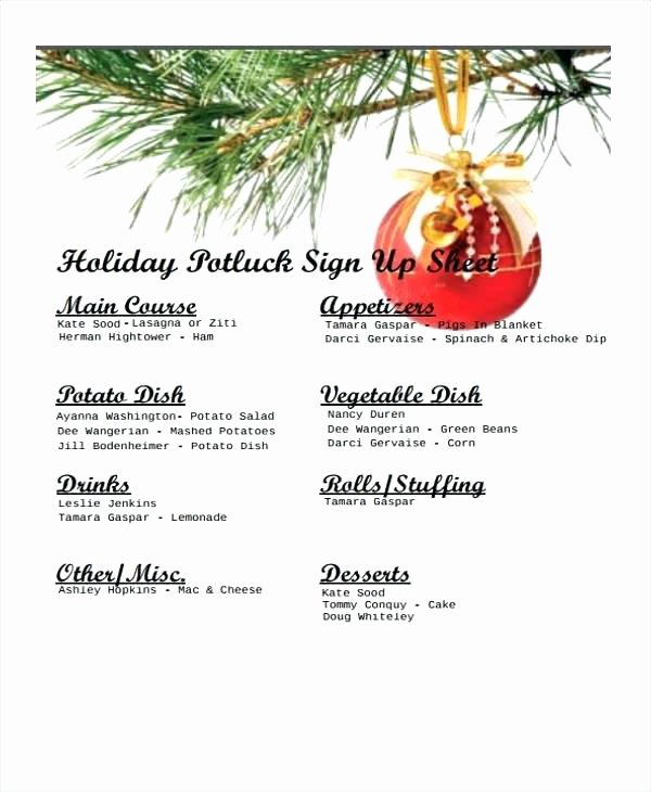 Potluck Signup Sheet Template Excel Lovely Potluck Signup Template Word Invitation Templates Free