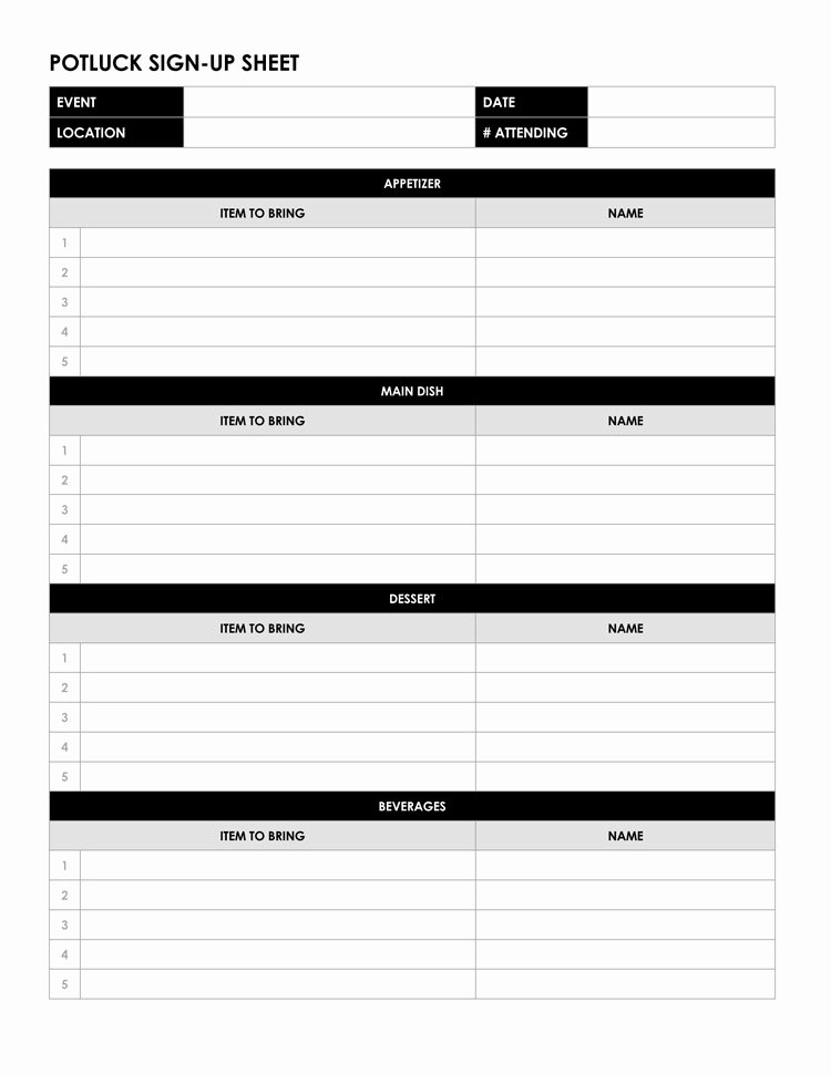 Potluck Signup Sheet Template Excel Luxury 26 Free Sign Up Sheet Templates Excel & Word