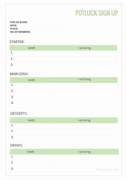 Potluck Signup Sheet Template Excel Unique Christmas Potluck Signup Sheet Template Excel Holiday