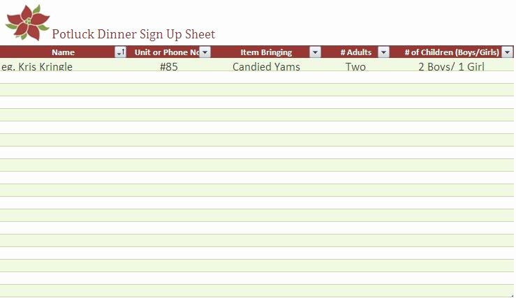 potluck signup sheet template microsoft