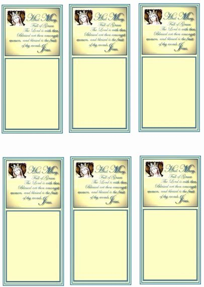 Prayer Card Template for Word Beautiful Hail Mary Prayer Cards original Design