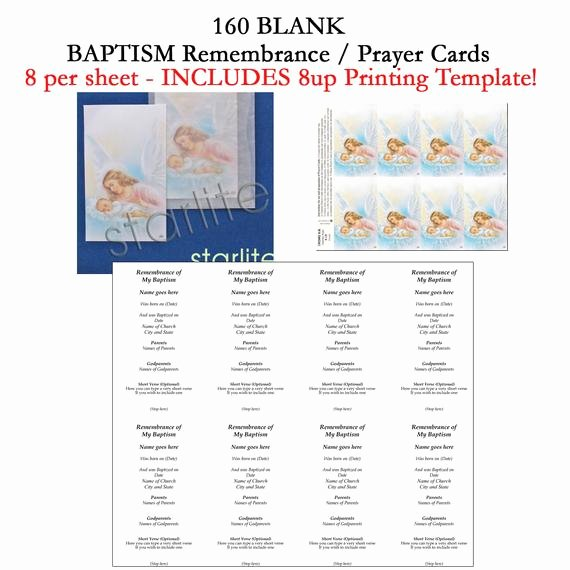 Prayer Card Template for Word Fresh Baptism Remembrance Cards Baptism Prayer Cards Favors