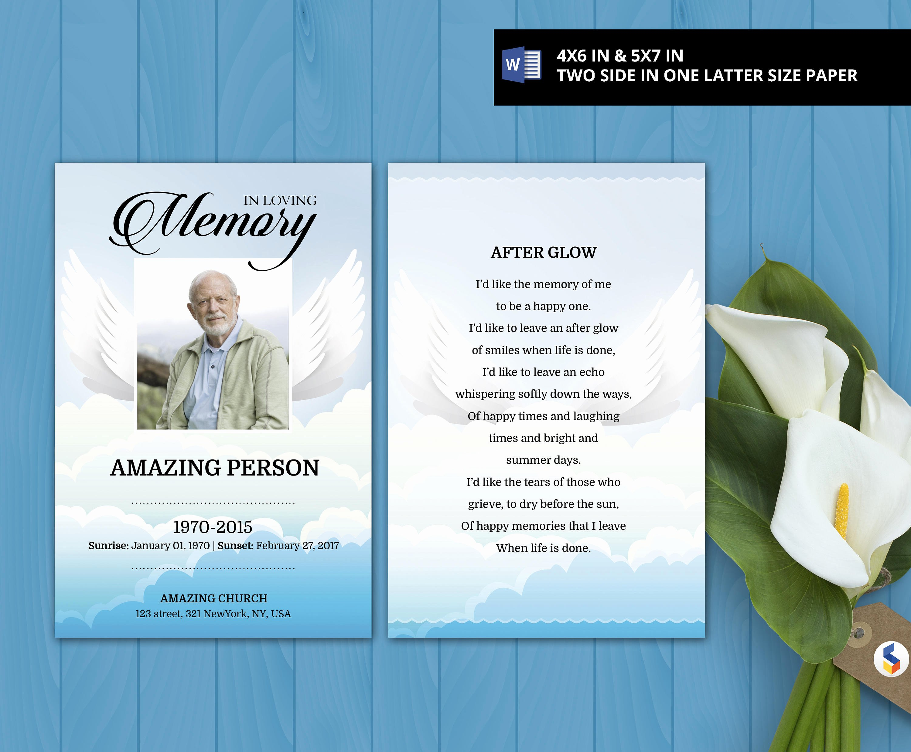 Prayer Card Template for Word Lovely Angel Wing Printable Prayer Card Funeral Card
