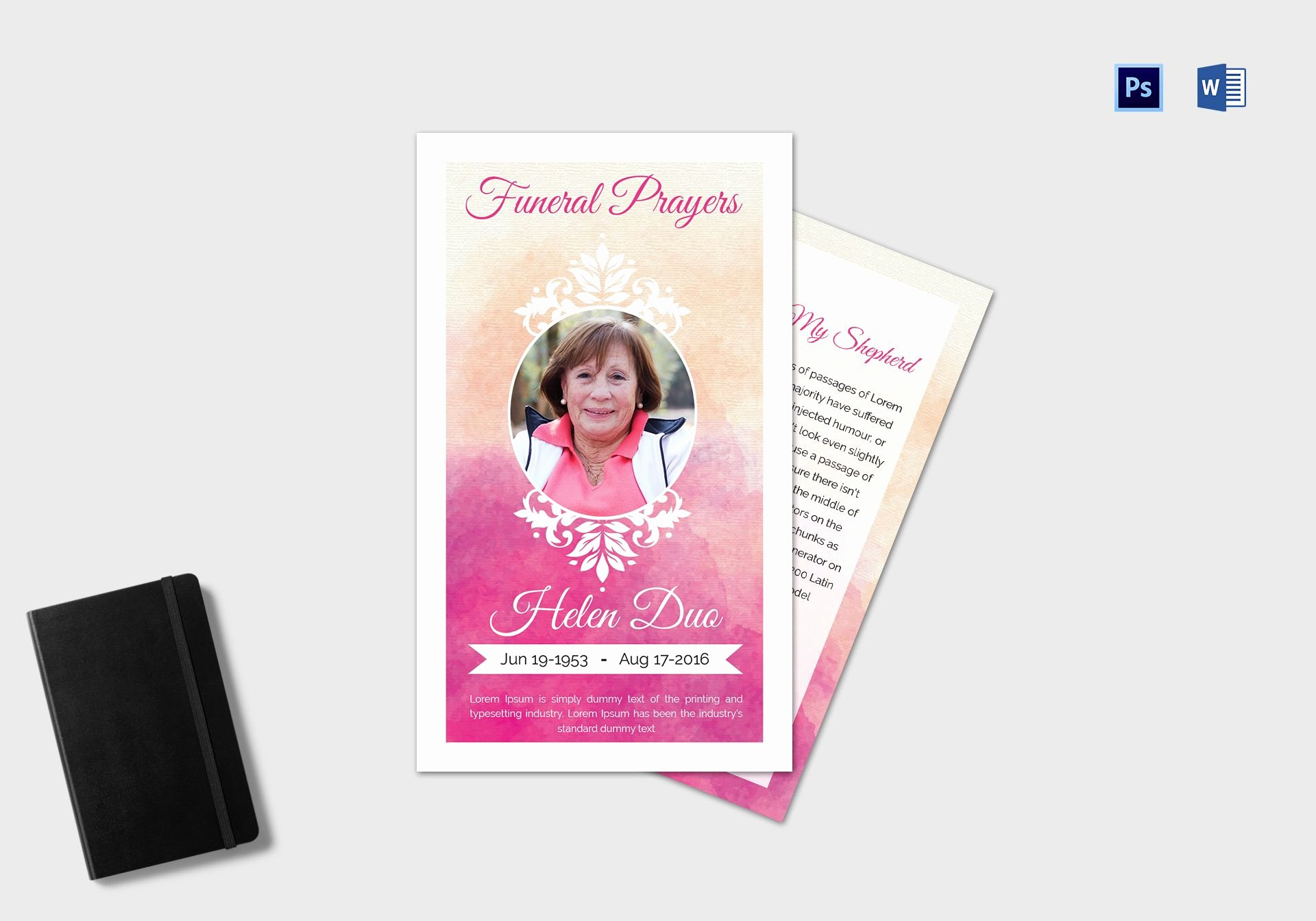 Prayer Card Template for Word New Funeral Prayer Card Template for Grandmother In Adobe