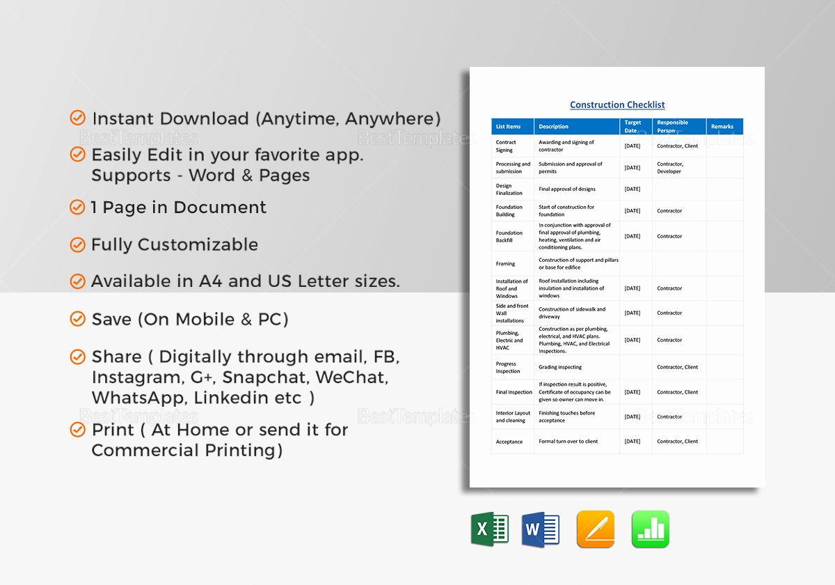 Pre Construction Checklist Template Best Of Construction Checklist Template In Word Excel Apple