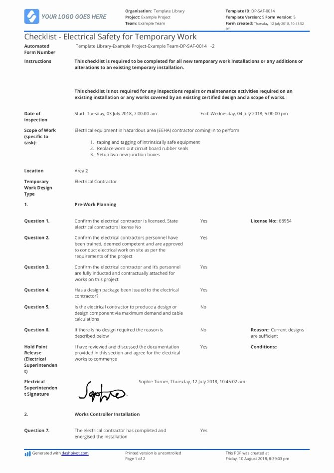 Pre Construction Checklist Template Elegant Appendix New Yorktate Resurfacingafety assessment form and