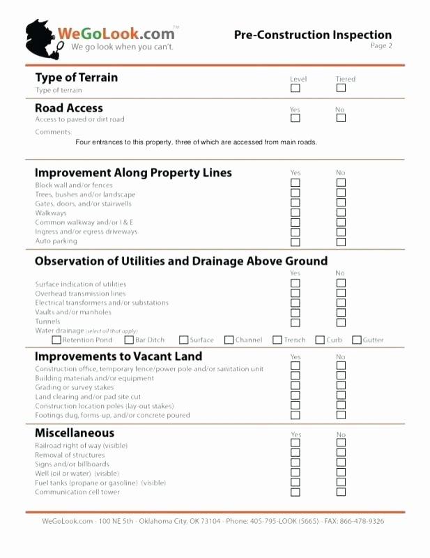 Pre Construction Checklist Template Elegant Checklist Template Report Pre Construction form Print