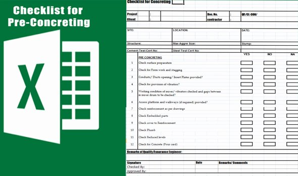 Pre Construction Checklist Template Inspirational Concrete Pre Pour Checklist