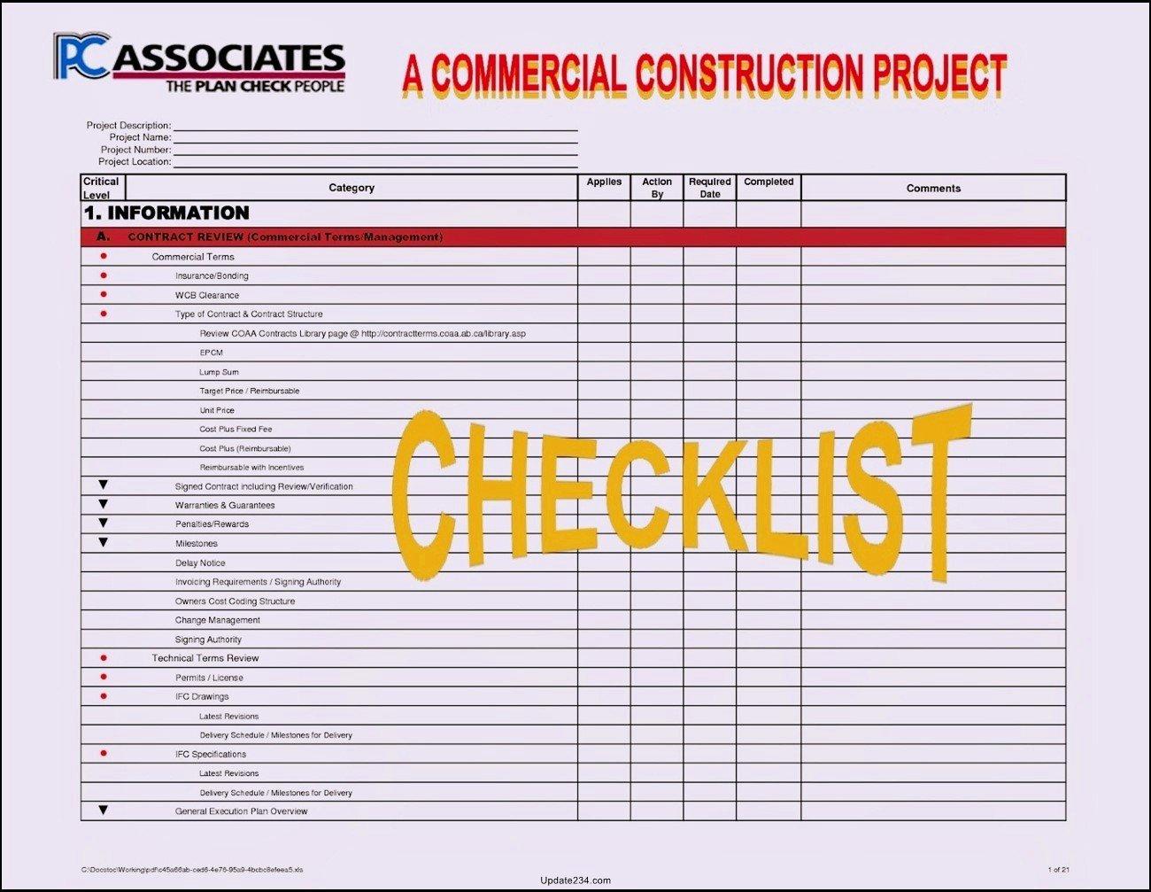 Pre Construction Checklist Template Luxury Construction Project Startup Checklist Template