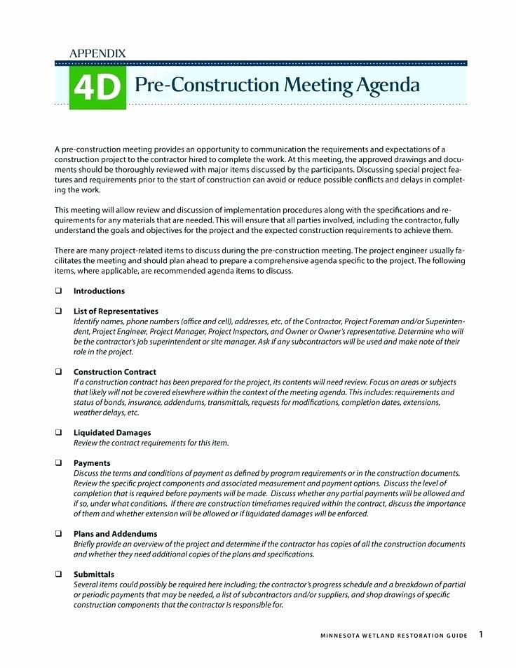 Pre Construction Meeting Agenda Template Beautiful Construction Meeting Agenda Template Marvelous Progress