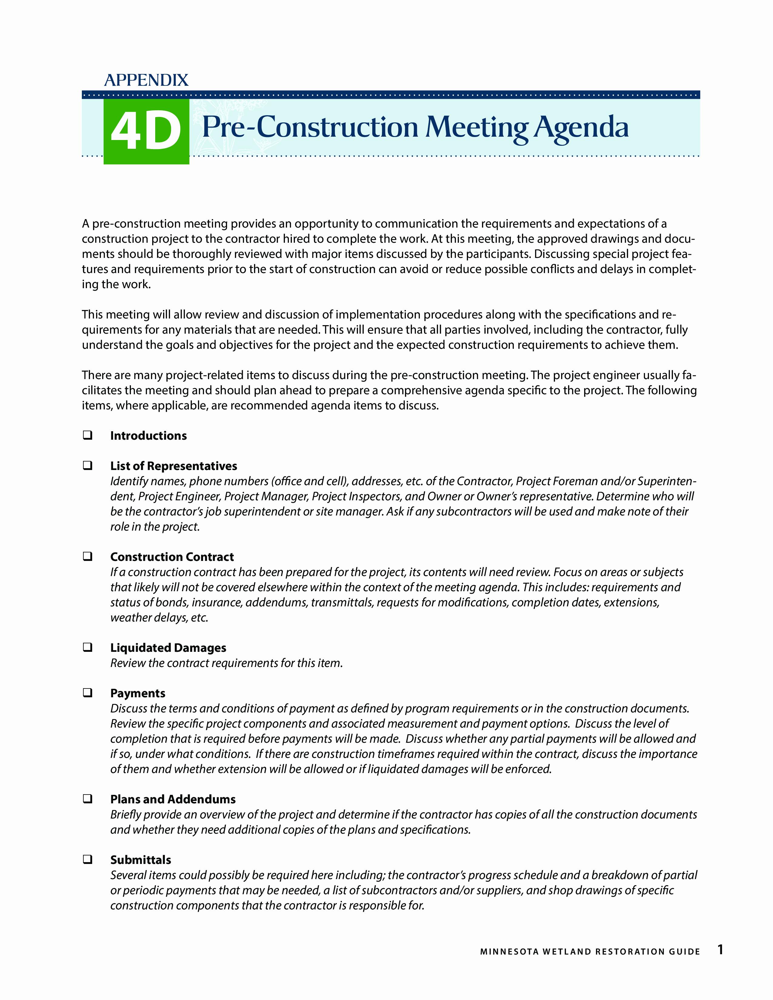 Pre Construction Meeting Agenda Template Beautiful Free Pre Construction Meeting Agenda