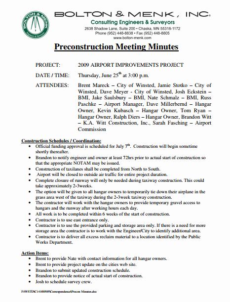 Pre Construction Meeting Agenda Template Best Of 8 Pre Construction Meeting Templates Pdf