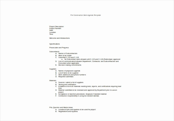 Pre Construction Meeting Agenda Template Lovely A Plete Guide to Making An Agenda