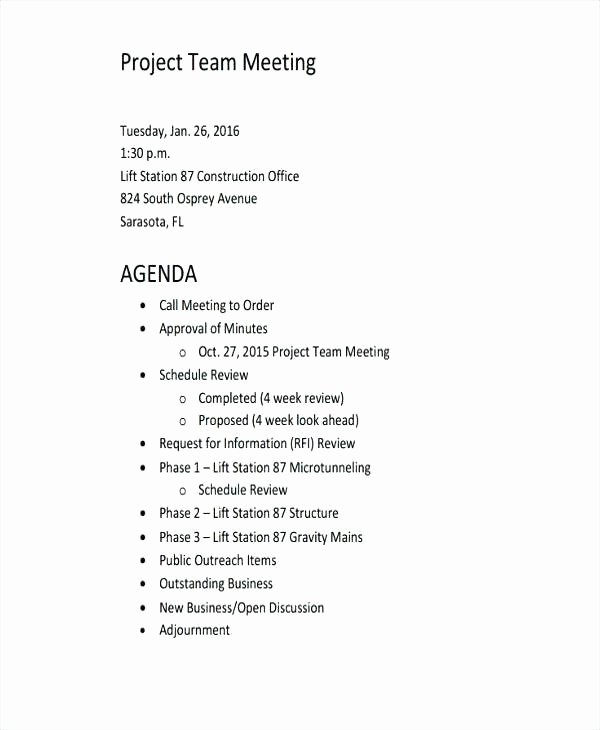Pre Construction Meeting Agenda Template Lovely Template Construction Project Kickoff Meeting Agenda