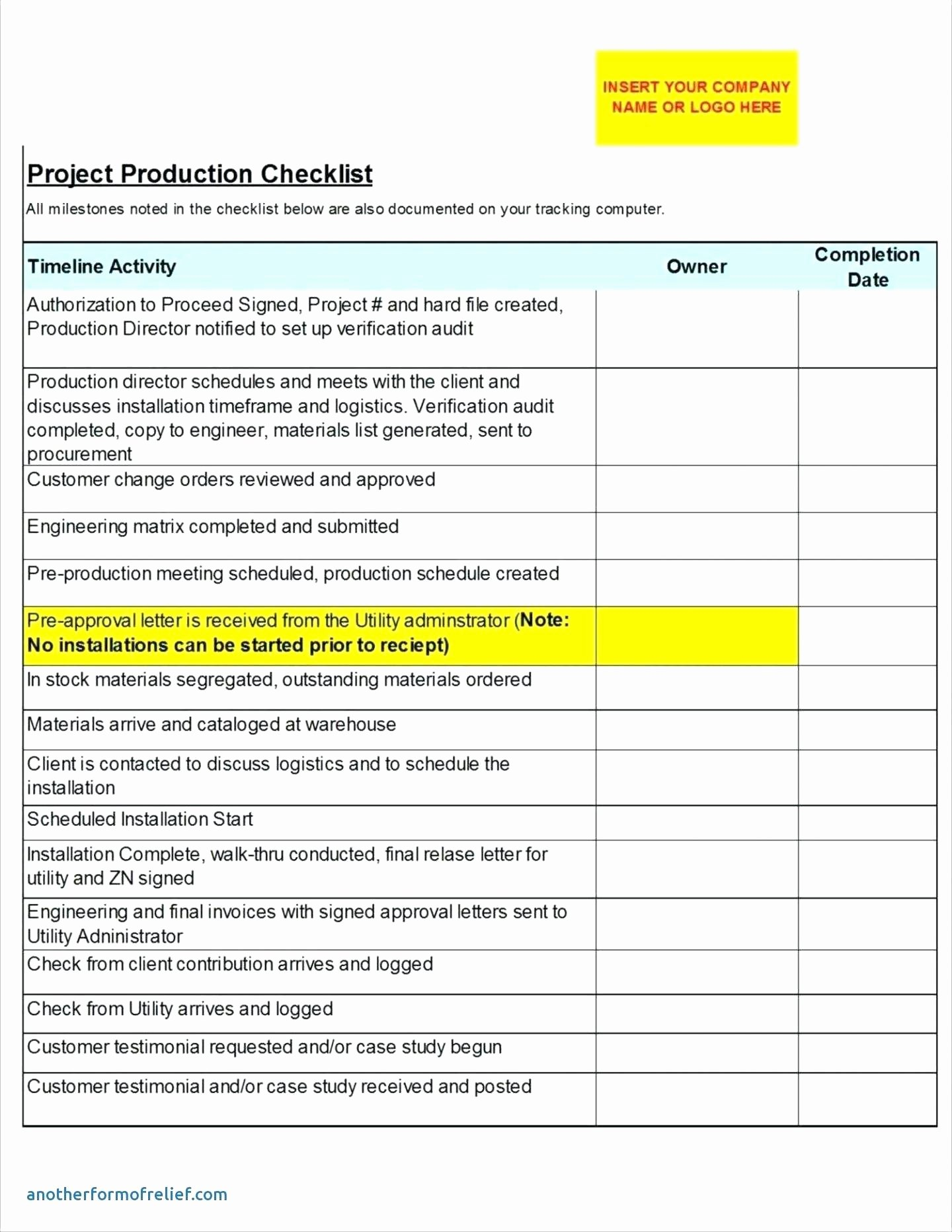 Pre Construction Meeting Agenda Template Luxury Project Pletion Checklist Template