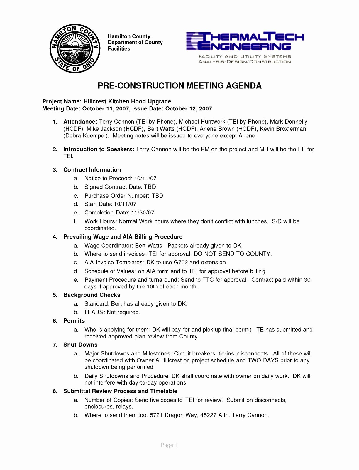 Pre Construction Meeting Agenda Template New 5 Pre Construction Meeting Agenda Template Eiyye