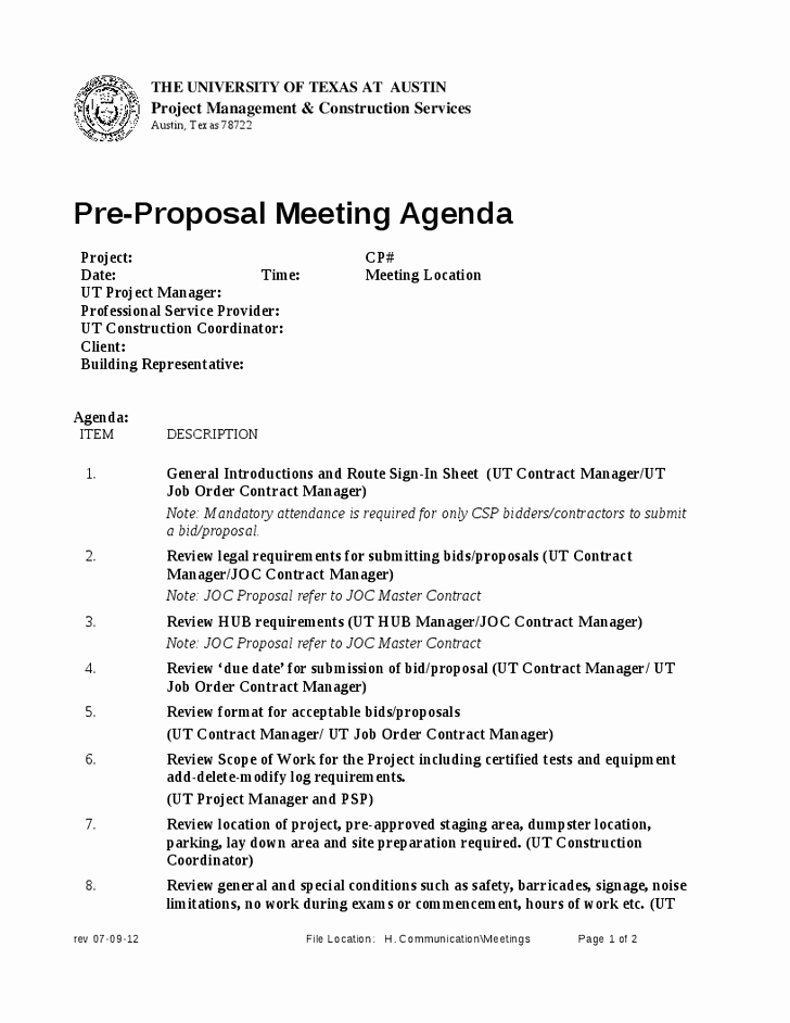 Pre Construction Meeting Agenda Template Unique Pre Construction Meeting Agenda Template Image Collections