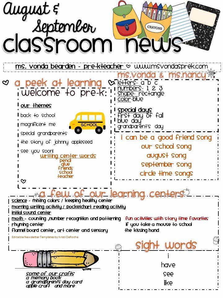 Pre K Newsletter Template Beautiful August and September Newsletter 2016