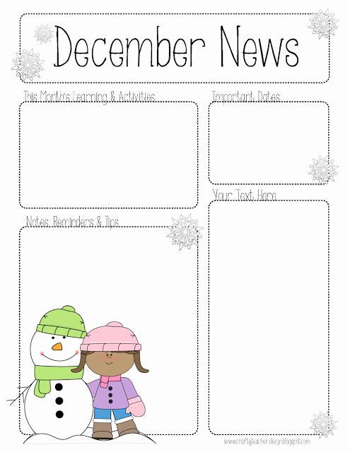 Pre K Newsletter Template Beautiful December Newsletter for All Grades Preschool Pre K