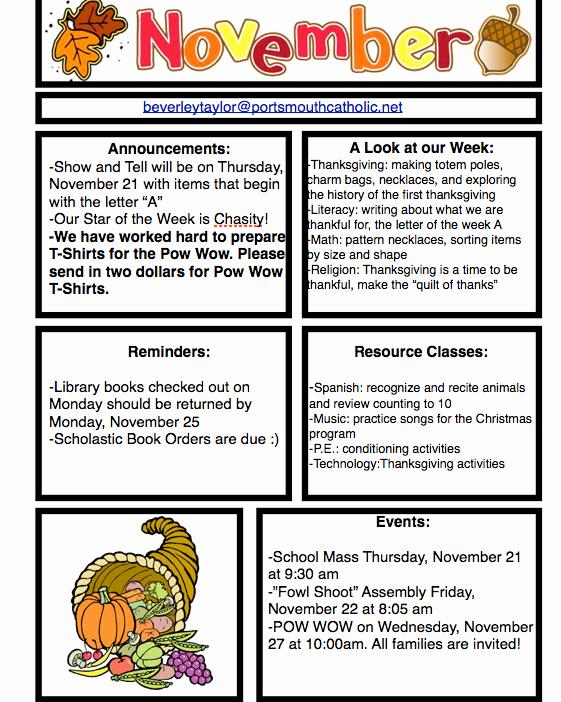 Pre K Newsletter Template Beautiful Prek Newsletter November 18 2013 Portsmouth Catholic