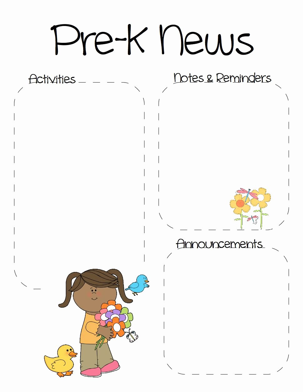 Pre K Newsletter Template Beautiful Spring Pre K Newsletter Template