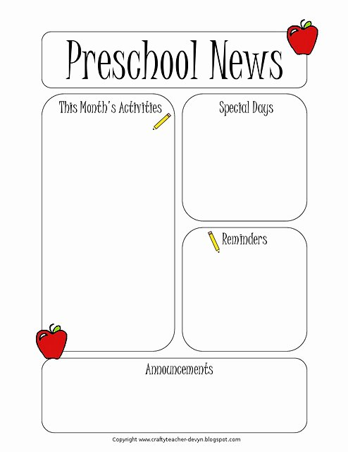 Pre K Newsletter Template Elegant the Crafty Teacher Newsletter Templates
