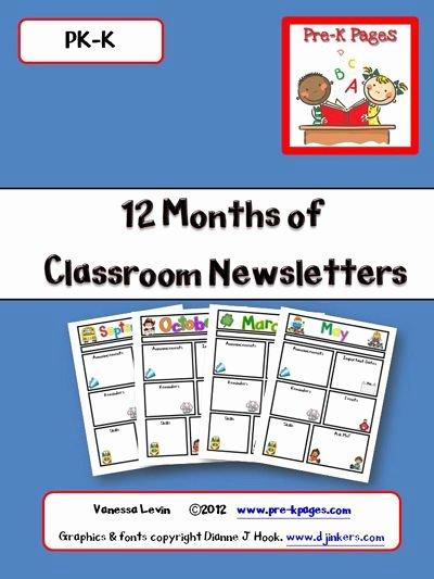 Pre K Newsletter Template Fresh Classroom Newsletters