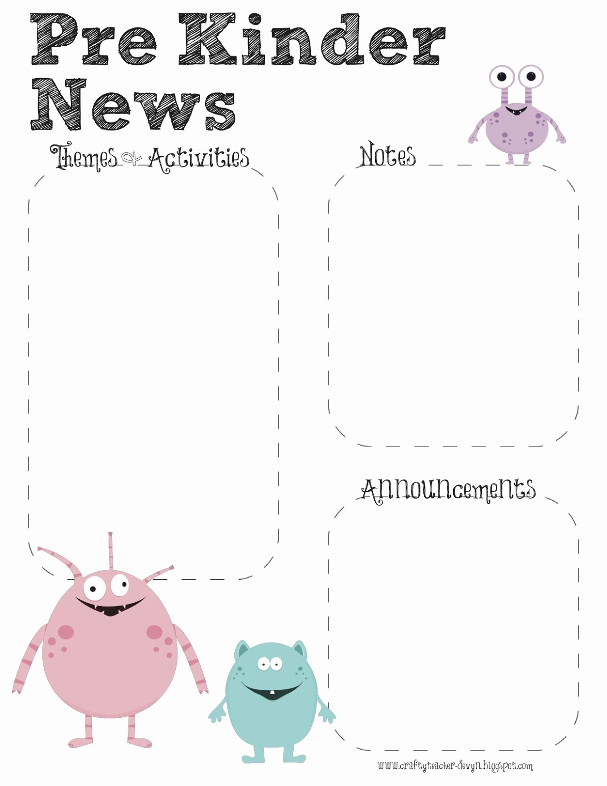 Pre K Newsletter Template Fresh the Crafty Teacher Prek Monster theme Newsletter Template