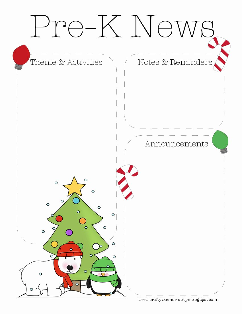 Pre K Newsletter Template Inspirational the Crafty Teacher December 2012
