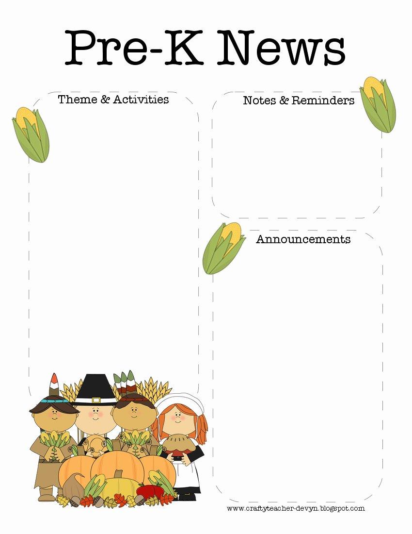Pre K Newsletter Template Lovely the Crafty Teacher November Thanksgiving Pre K