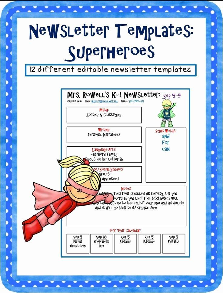 Pre K Newsletter Template Luxury Editable Newsletter Template Superhero themed