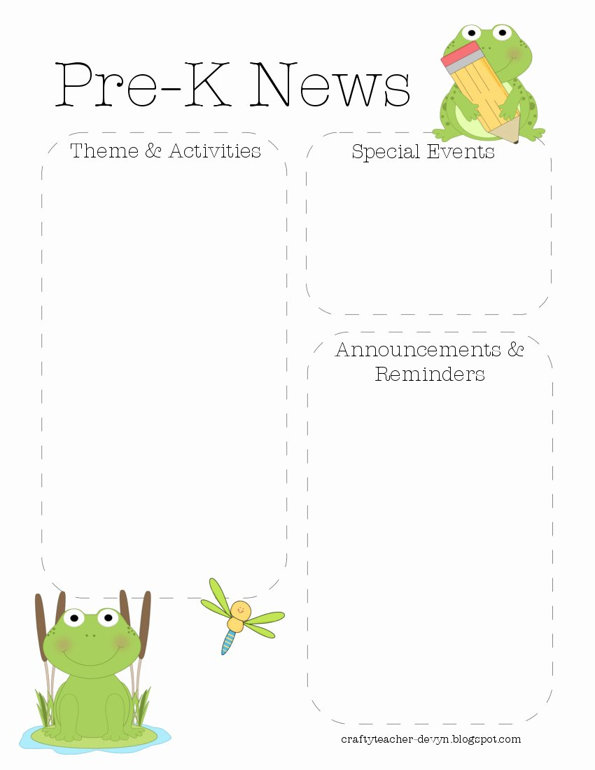 Pre K Newsletter Template Luxury Frog Pre K Newsletter Template