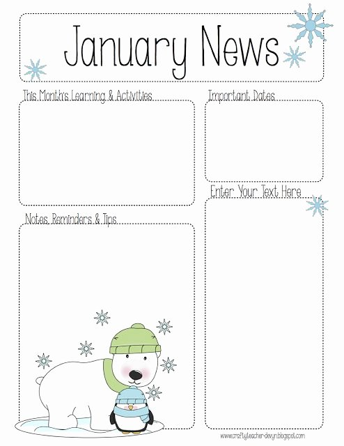 Pre K Newsletter Template Luxury January Newsletter for All Grades Preschool Pre K