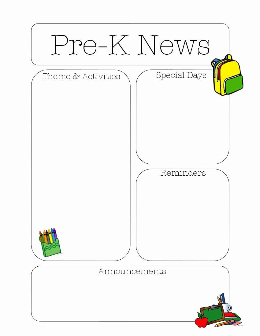 Pre K Newsletter Template Luxury Pre K Newsletter Template