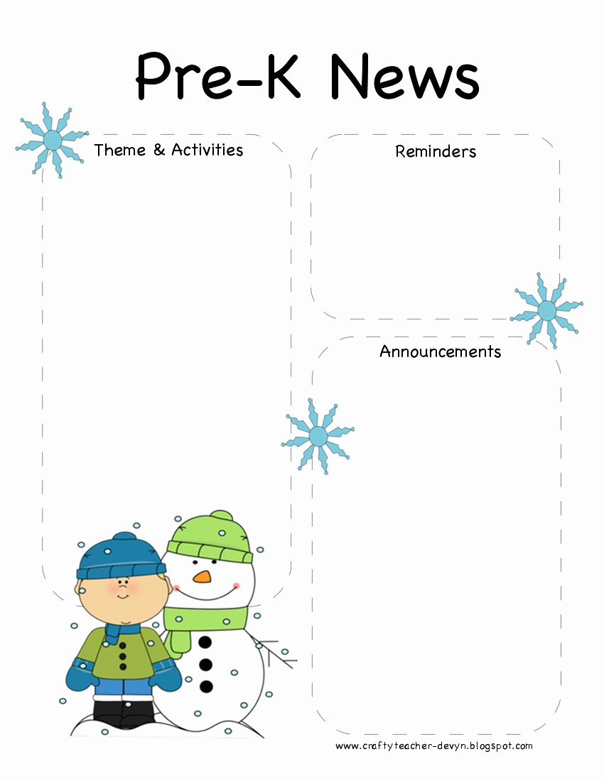 Pre K Newsletter Template Luxury the Crafty Teacher Pre K Winter Newsletter Template