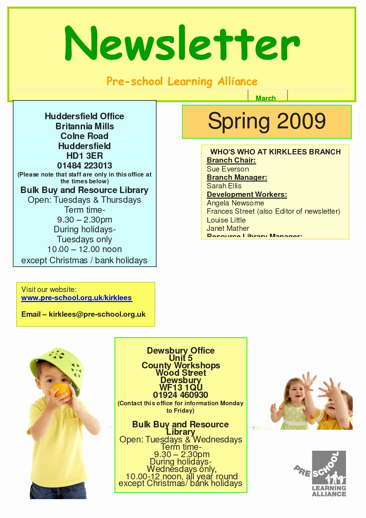 Pre K Newsletter Template New Best S Of Printable Preschool Newsletters Free