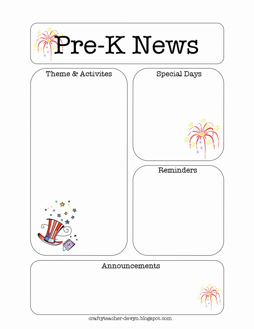 Pre K Newsletter Template New July Pre K Newsletter Template