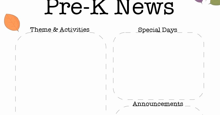 Pre K Newsletter Template New the Crafty Teacher October Pre K Newsletter Template