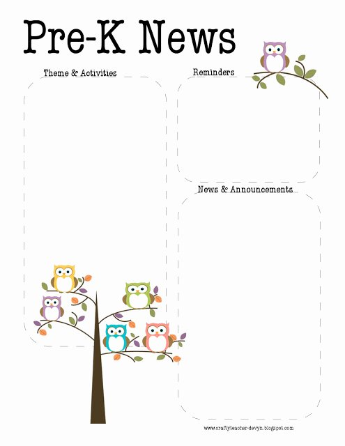 Pre K Newsletter Template New the Crafty Teacher Pre K Owl Newsletter Template