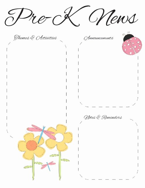 Pre K Newsletter Template New the Crafty Teacher Spring Pre K Newsletter Template