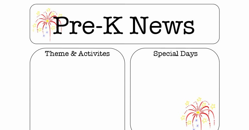 july pre k newsletter template