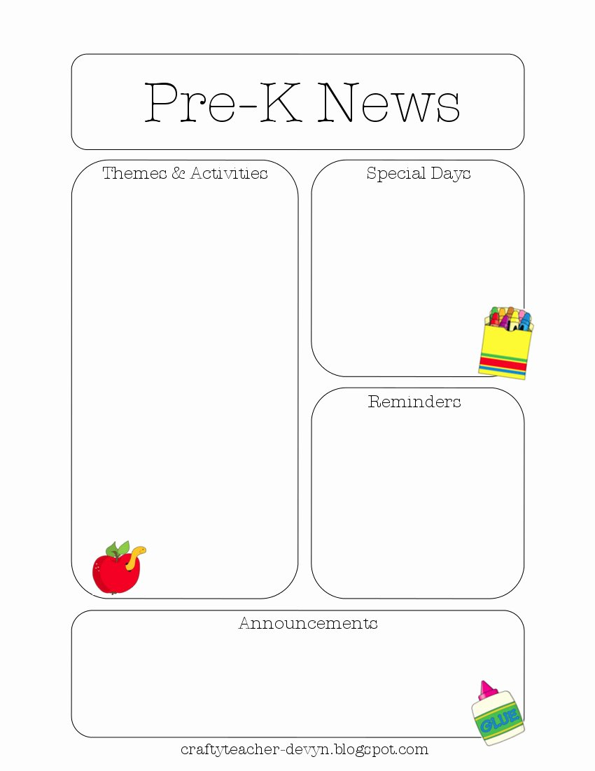 Pre K Newsletter Template Unique Newsletter Templates