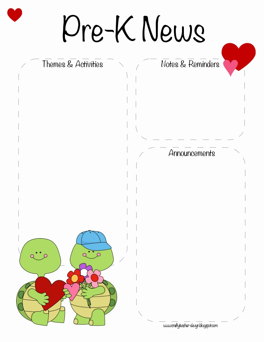 Pre K Newsletter Template Unique Pre K Valentine S Day February Newsletter Template