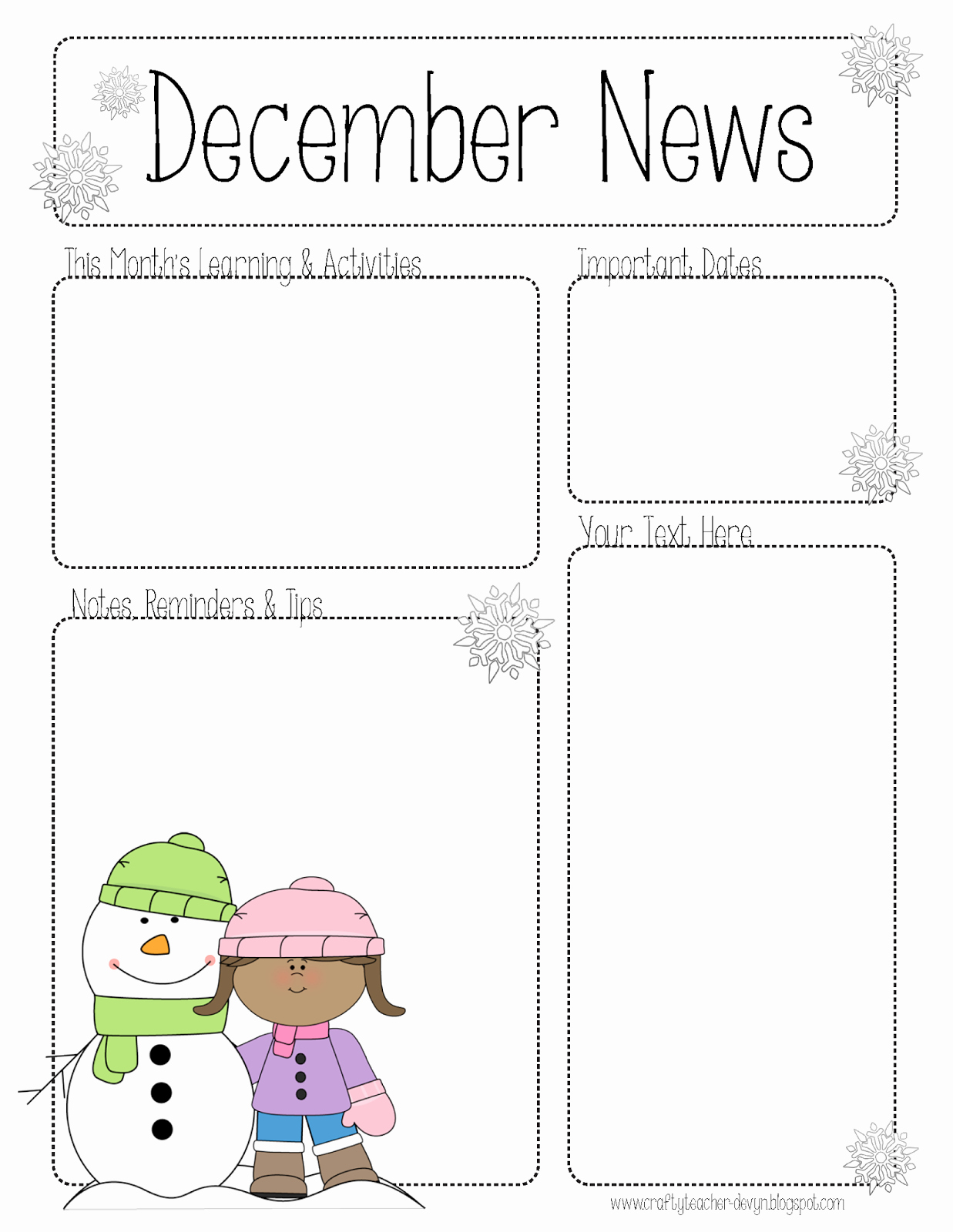 Pre K Newsletter Template Unique the Crafty Teacher December Newsletter for All Grades